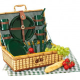 Cos picnic pentru 4 persoane Green Park - Vesela camping Alexer, Set vesela