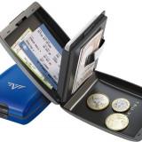 Portofel din aluminiu Oyster de la Tru Virtu - Blue Ocean - Portofel Barbati, Port card