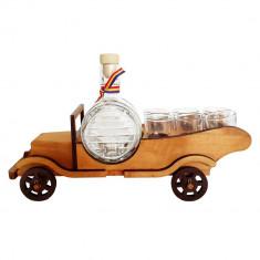 Minibar din lemn masina cu sticla butoi si 6 paharute