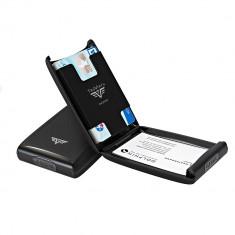 Portcard aluminiu mat negru Tru Virtu Credit Card Case - Silk Line - Portofel Barbati