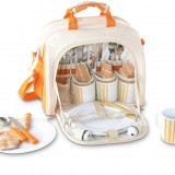 Geanta picnic pentru 4 persoane Rustic portocaliu - Vesela camping Alexer, Set vesela
