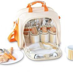 Geanta picnic pentru 4 persoane Rustic portocaliu - Vesela camping Alexer
