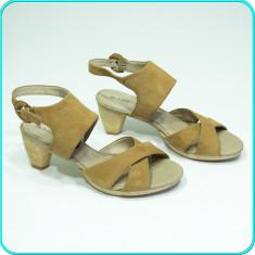 DE CALITATE → Sandale dama, piele, comode, aerisite, MARC → femei | nr. 39, Maro, Piele naturala