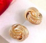 Cercei eleganti placati cu aur galben 18k si cristale zirconia + CUTIE CADOU