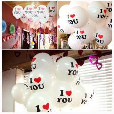 Balone din latex I LOVE YOU, set 100 de bucati - Decoratiuni petreceri copii
