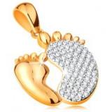 Pandantiv din aur de 14K - tălpi - una mai mică şi una mai mare cu zirconii - Pandantiv aur