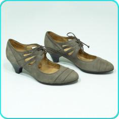 DE FIRMA → Pantofi dama, DIN PIELE, comozi, usori, fiabili GABOR → femei | nr 36 - Pantof dama Gabor, Culoare: Gri, Piele naturala, Cu toc