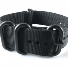 20mm, 22mm, 24mm curea ceas ZULU catarama neagra