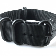 20mm, 22mm, 24mm curea ceas ZULU catarama neagra - Curea ceas material textil