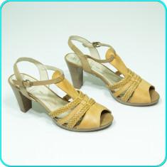 NOI → Sandale dama, aerisite, frumoase, piele, calitate, CAPRICE → femei | nr 39, Culoare: Bej, Piele naturala