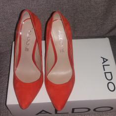 Pantofi ALDO piele intoarsa, marimea 36 - Pantof dama Aldo, Culoare: Orange, Cu toc