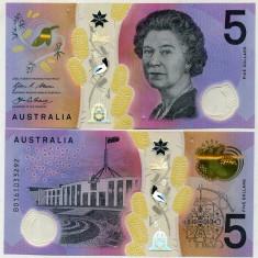 AUSTRALIA- 5 DOLLARS 2016- POLYMER- UNC!!
