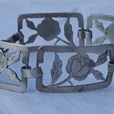 Bratara argint Franta art deco 1930 TRANDAFIRI Traforati Gravati manual FINUTA
