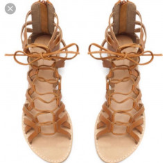 Sandale romane Zara, piele naturala, 36 - Sandale dama Zara, Culoare: Maro