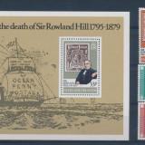 Falkland Isl. timbru pe timbru Rowland Hill UPU - serie si colita nestamp. MNH, Nestampilat