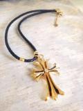 Cumpara ieftin REDUCERE-Lantisor +pandantiv CRUCE placat cu Aur 18k pe snur de PIELE