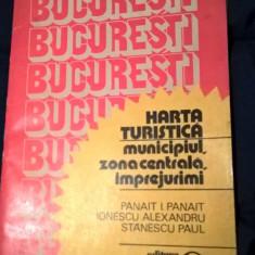 Bucuresti - Harta turistica - municipiul, zona centrala, imprejurimi (1983)