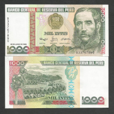 PERU 1000 1.000 INTIS 1988 UNC [1] P-136b.2, necirculata - bancnota america