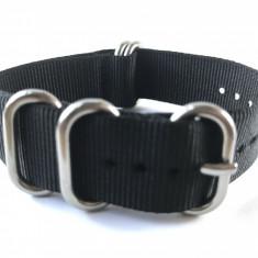 20mm, 22mm, 24mm curea ceas ZULU catarama argintie - Curea ceas material textil