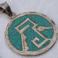 Medalion argint AZTEC cu email vechi MEXIC 1900 SPLENDID superb pe Lant argint