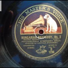 Leopold Stokowski Hungarian rapsody disc patefon gramofon stare buna - Muzica Clasica, Alte tipuri suport muzica