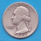 (9) MONEDA DIN ARGINT SUA - QUARTER DOLLAR 1944, FARA LITERA, WASHINGTON, 6.25 g, America de Nord