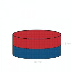 Magnet neodim disc 30/15 mm forta 23 kg atractie metale tip tir