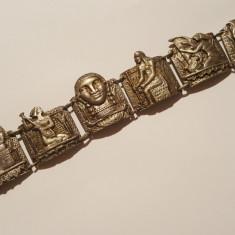 UNICAT Bratara argint EGIPT 1850 cu scene si personaje Egiptene SUPERBA vintage - Bijuterie veche