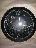 Ceas cuart,german,de perete,cu termometru si barometru