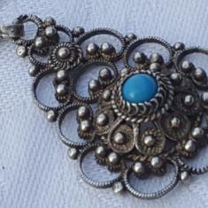 Medalion argint etnic TRIBAL cu TURCOAZ vintage VECHI rar SUPERB pe Lant argint
