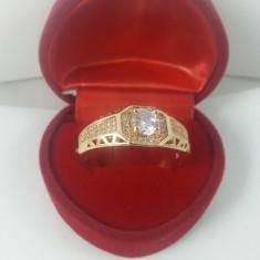 Inel Barbati dublu placat aur 24K cristale zirconiu Cod produs: INB1, 57 - 67