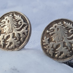 RARI Butoni argint BLAZON LYON HEART INIMA de LEU superbi VECHI de Efect VINTAGE, Ornamentale