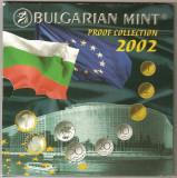 BULGARIA SET MONEDE 1 2 5 10 20 50 STOTINKI 1 LEV + JETON ARGINT 2002 PROOF UNC, Europa, Cupru-Nichel