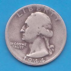 (7) MONEDA DIN ARGINT SUA - QUARTER DOLLAR 1944, LIT. D, WASHINGTON, 6.25 g, America de Nord