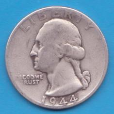 (6) MONEDA DIN ARGINT SUA - QUARTER DOLLAR 1944, FARA LITERA, WASHINGTON, 6.25 g, America de Nord