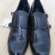 Pantofi Zara Originali, Noi, Achizitionati din Austria, cu catarame - Pantof dama Zara, Culoare: Maro, Marime: 38, Cu toc