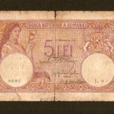 ROMANIA 5 LEI Februarie 1917, fagure . Varianta MARE . Tiparita in Rusia . - Bancnota romaneasca