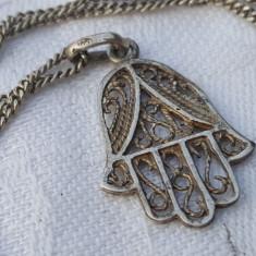 Medalion argint HAMSA MANA MAICII DOMNULUI in filigran SUPERB pe Lant argint