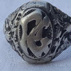RAR Inel argint SIGILIU NOBILIAR ornamentat splendid MASIV vintage SUPERB unicat