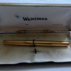 Stilou Waterman placat cu aur si penita din aur 18k anii 70-80 model rar Franta