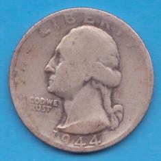 (4) MONEDA DIN ARGINT SUA - QUARTER DOLLAR 1944, LIT. S, WASHINGTON, 6.25 g, America de Nord