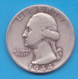 (5) MONEDA DIN ARGINT SUA - QUARTER DOLLAR 1944, FARA LITERA, WASHINGTON, 6.25 g, America de Nord