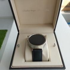 Huawei Watch W1 Otel Inoxidabil Bratara Piele Neagra NOU ! + Garantie ! - Smartwatch Huawei, 42mm, Argintiu, Android Wear, 4 GB