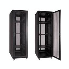 Linkbasic rack cabinet 19'' 42U 800x1000mm black (perforated steel front door) - Patch Panel