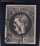 ROMANIA 1867 ,  LP 20 c , CAROL  I  CU FAVORITI HARTIE SUBTIRE   VAL.  20 PARALE, Stampilat