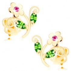 Cercei din aur 585 - floare strălucitoare colorată, zirconii roz şi verzi - Cercei aur