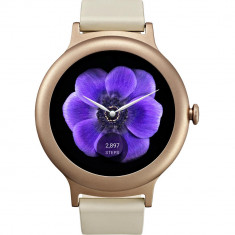 Smartwatch LG Style Otel Inoxidabil Roz Si Curea Piele Crem