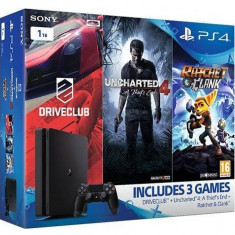 Consola Sony PlayStation 4 Slim 1TB, Black + Jocuri Uncharted 4, Drive Club si Ratchet and Clank - Consola PlayStation