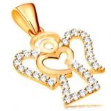 Pandantiv din aur galben de 14K - contur înger cu zirconii, inimă