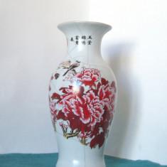 Superba vaza ceramica de studio, tehnica mixta - Bujori - semnata artist, China - Arta din Asia